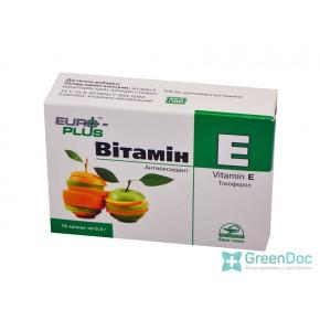 Витамин Е (Токоферол), Евро-плюс, 10 капсул