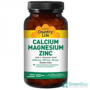 Кальций магний цинк (Calcium, Magnesium, Zinc) Country Life 180 таблеток
