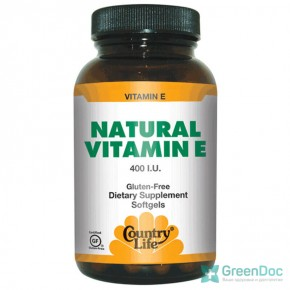 Natural Vitamin E (Натуральный витамин Е) Country Life 60 капсул