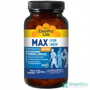 Max for men Country Life 120 таблеток